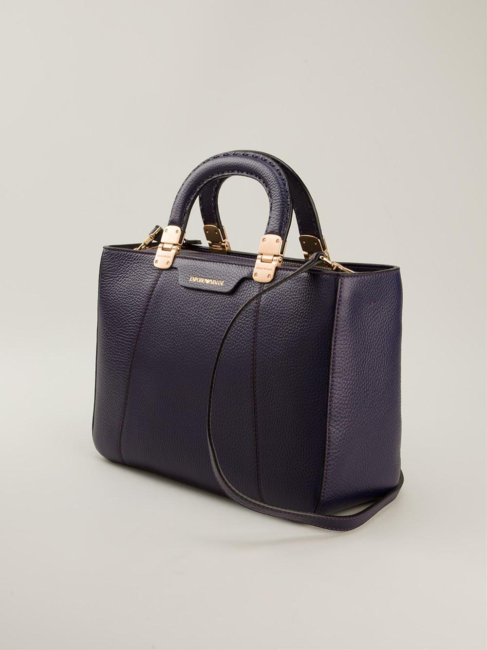 Lyst Emporio Armani Round Top Handles Tote Bag In Blue