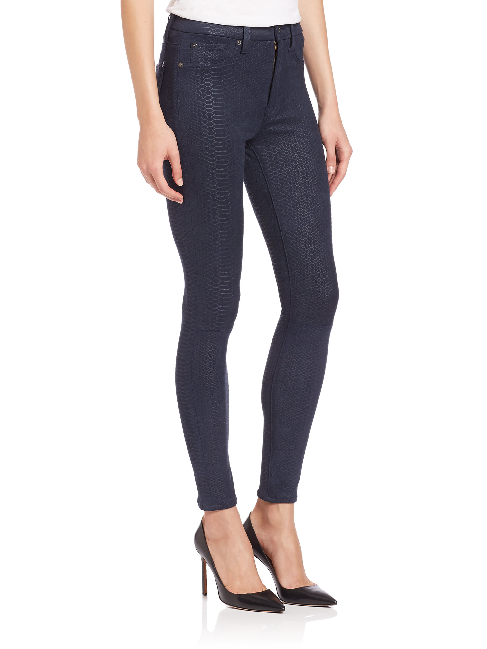7 for all mankind Embossed Snake-print Skinny Jeans in Black | Lyst