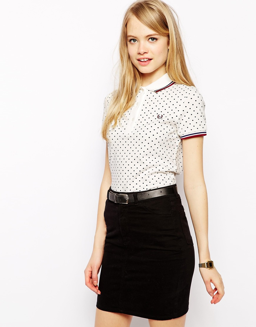 Fred perry Polka Dot Polo Shirt in White | Lyst