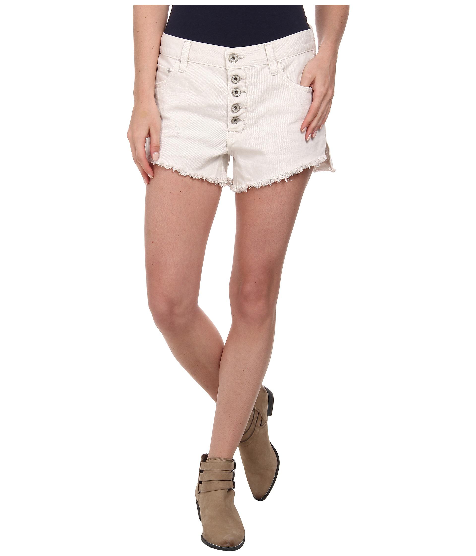Free people Rugged Denim Runaway Cut Off Shorts in White | Lyst