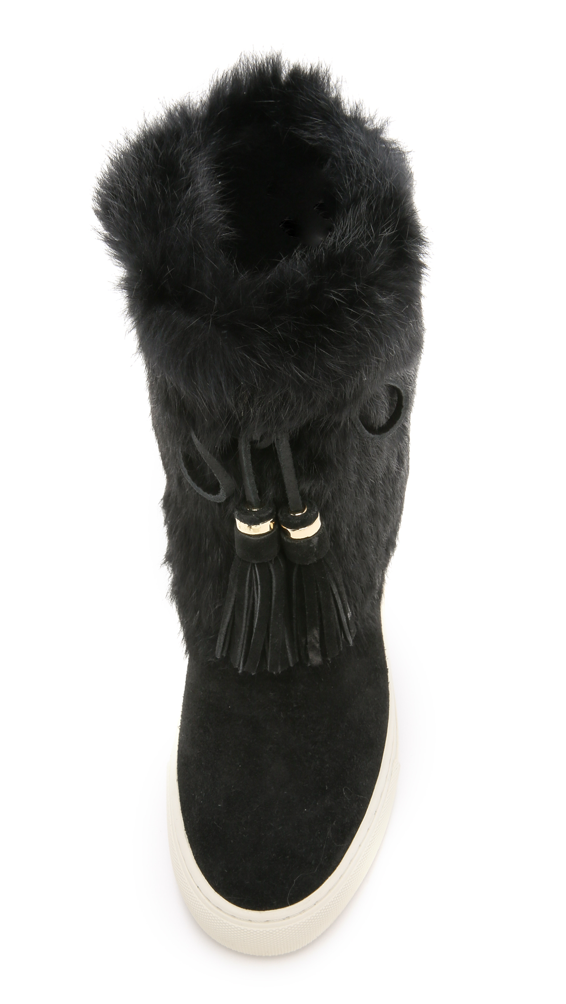 Lyst Tory Burch Anjelica Suede Fur Boots Blackblack