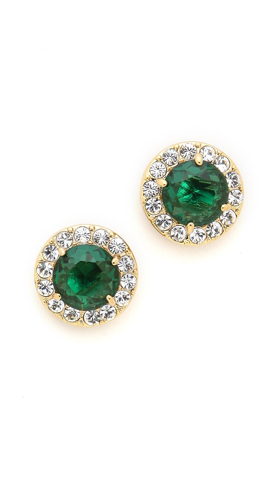 kate spade new york basket pave stud earrings emerald in