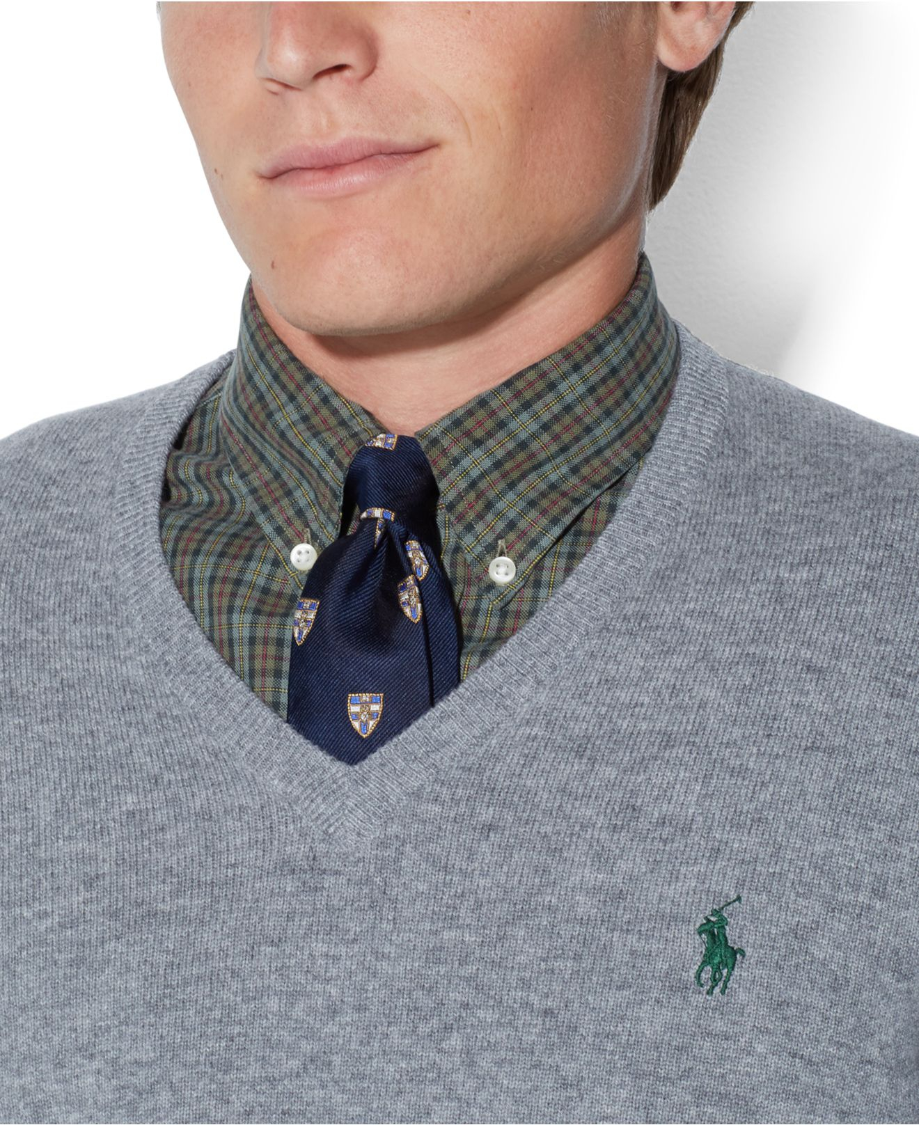 4671caf7 Polo Ralph Lauren Gray Loryelle Merino Wool V-Neck Sweater for men