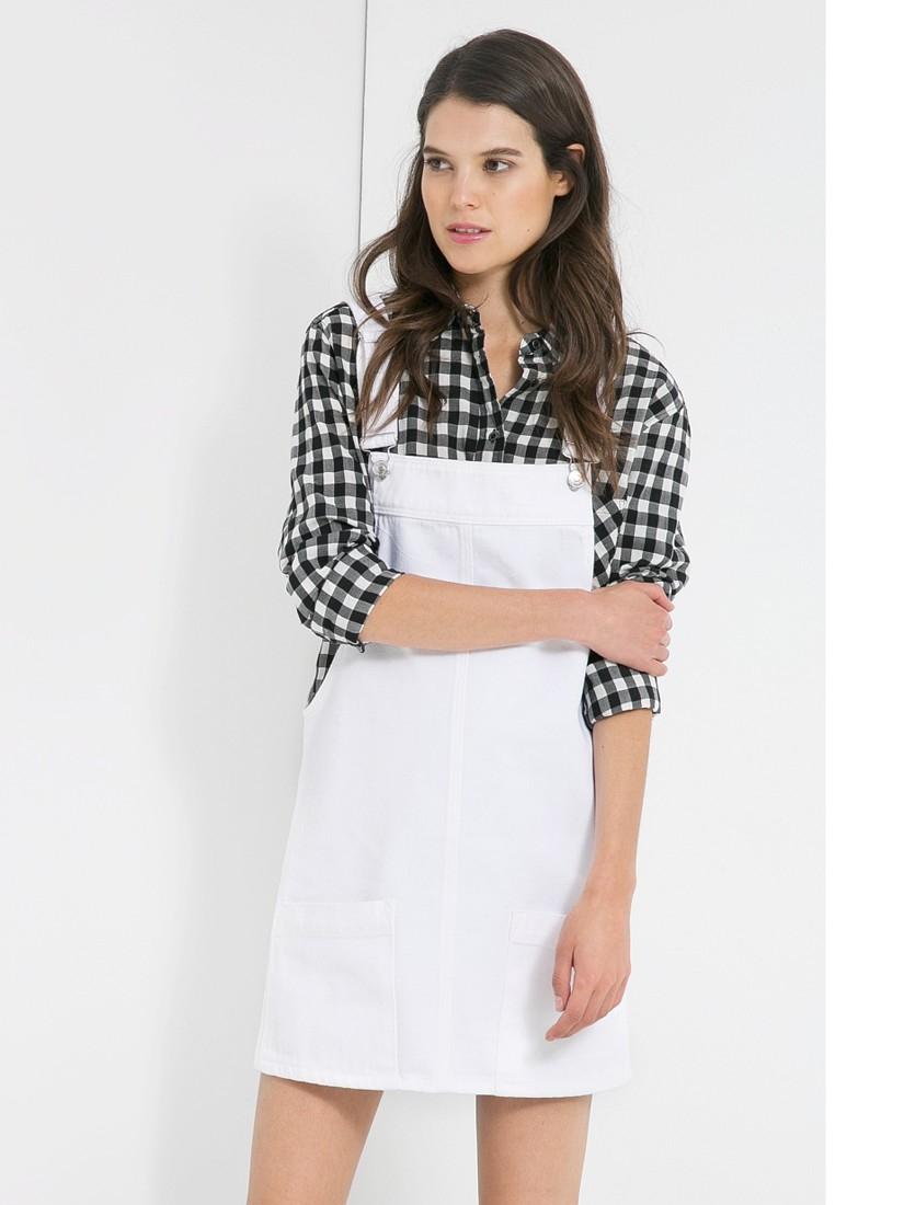 533427f3bce Mango Denim Pinafore Dress in White - Lyst