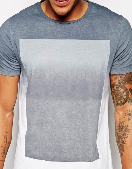 Asos t shirt with ombre block print and dip dye in gray for Mens dip dye shirt
