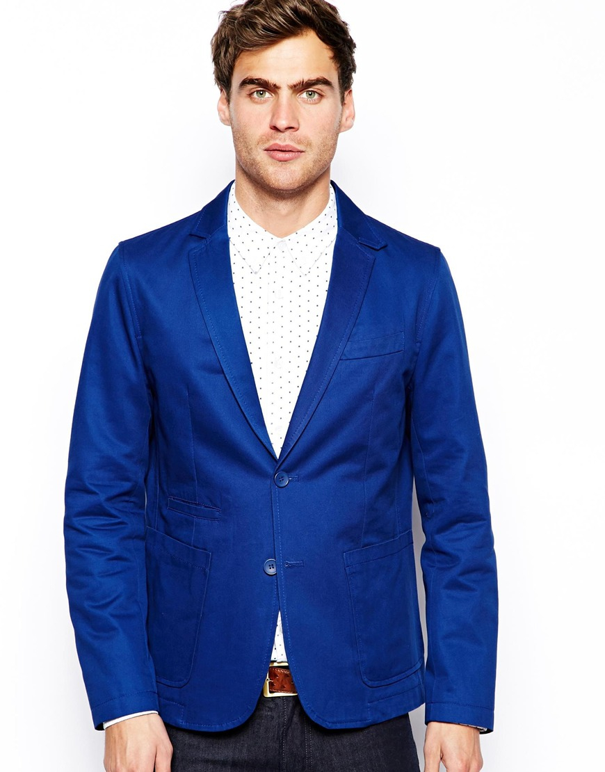 French connection Blazer Jacket in Blue for Men | Lyst