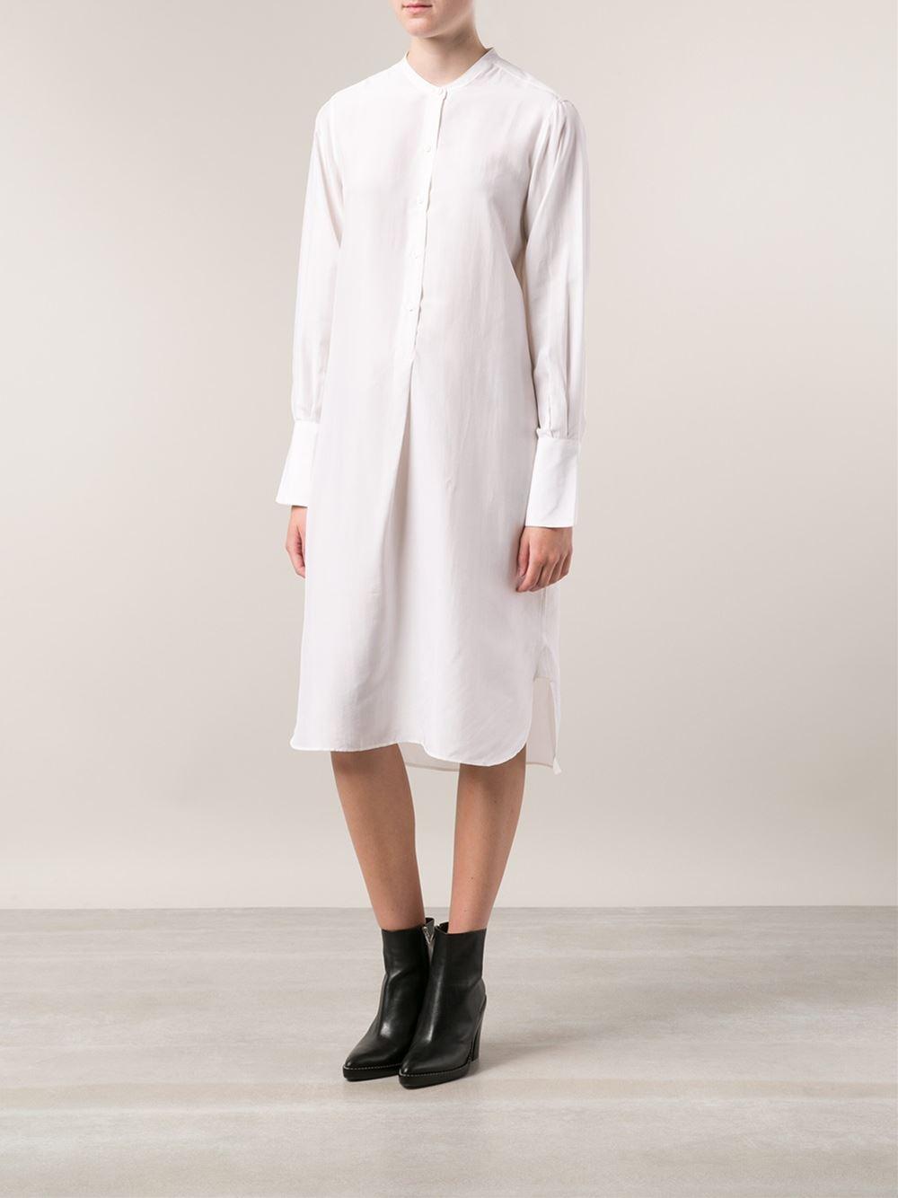 Christophe Lemaire Long Shirt Dress in White