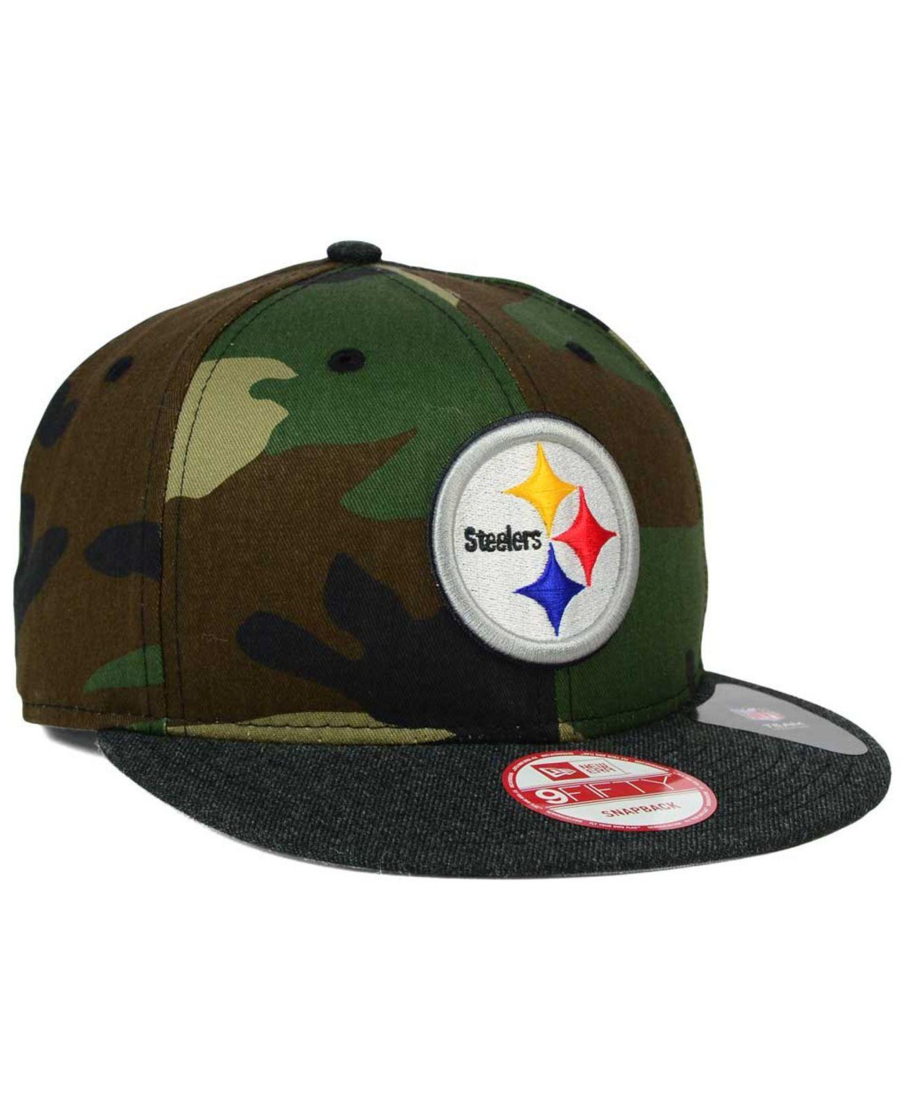 316f5117 KTZ Green Pittsburgh Steelers Camo Heather 9fifty Snapback Cap for men
