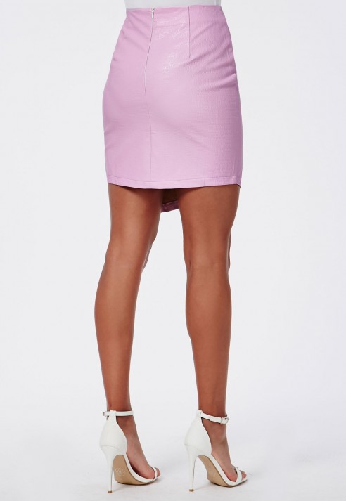 missguided textured faux leather asymmetric skirt pink in