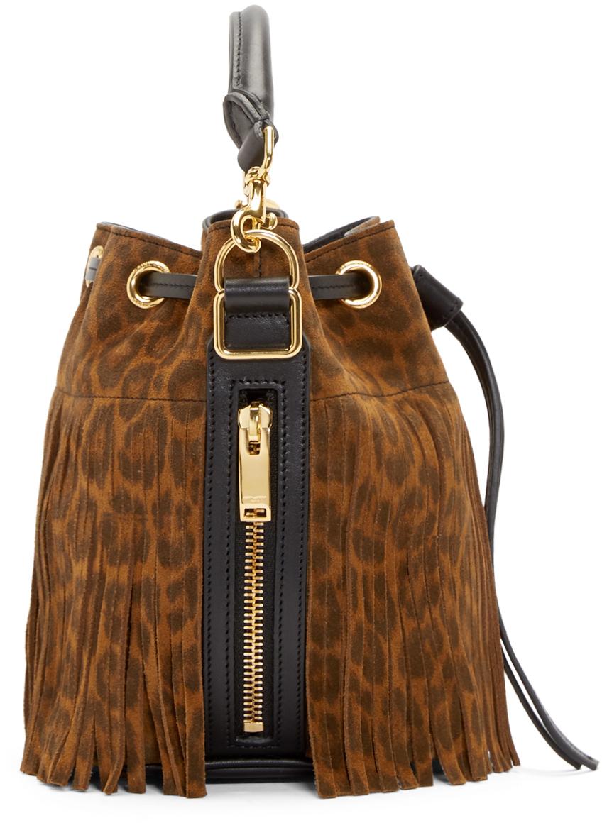 yves saint laurent cabas chyc large leather tote - emmanuelle small suede fringe bucket bag, dark brown