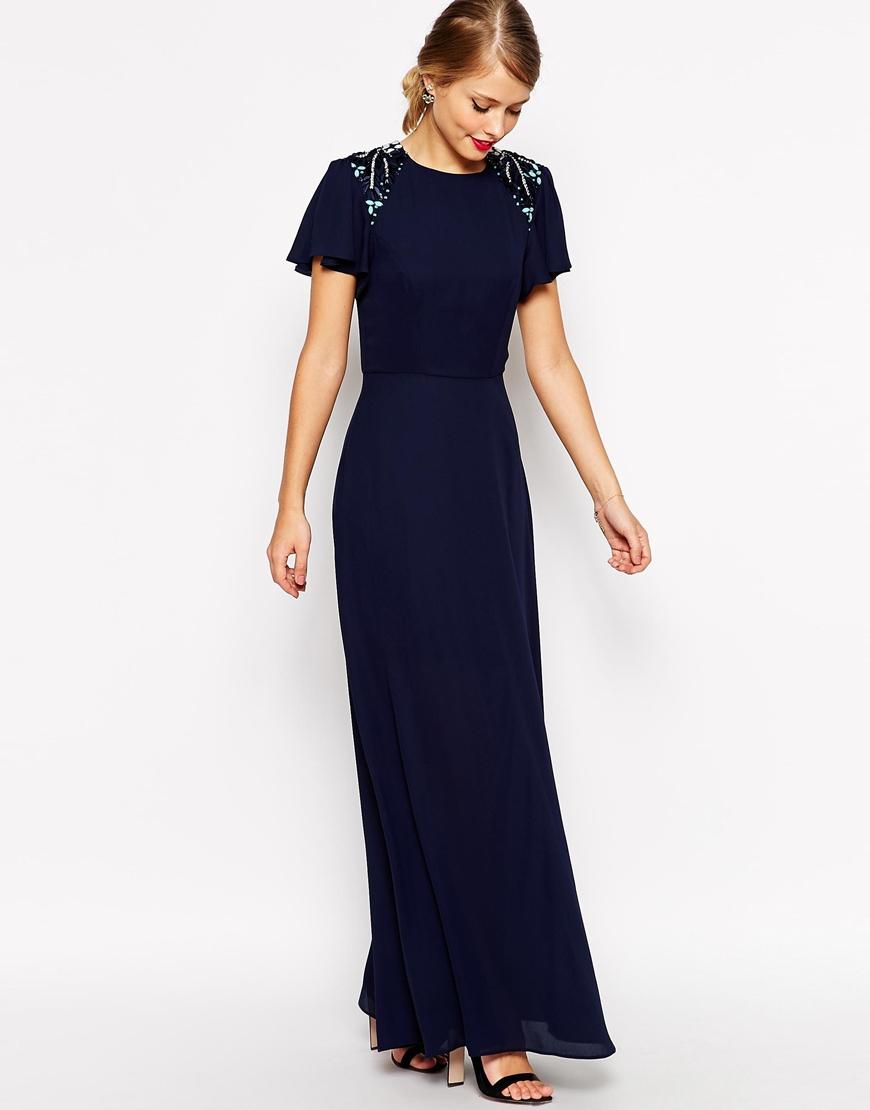 lyst asos sleeved embellished maxi dress in blue. Black Bedroom Furniture Sets. Home Design Ideas