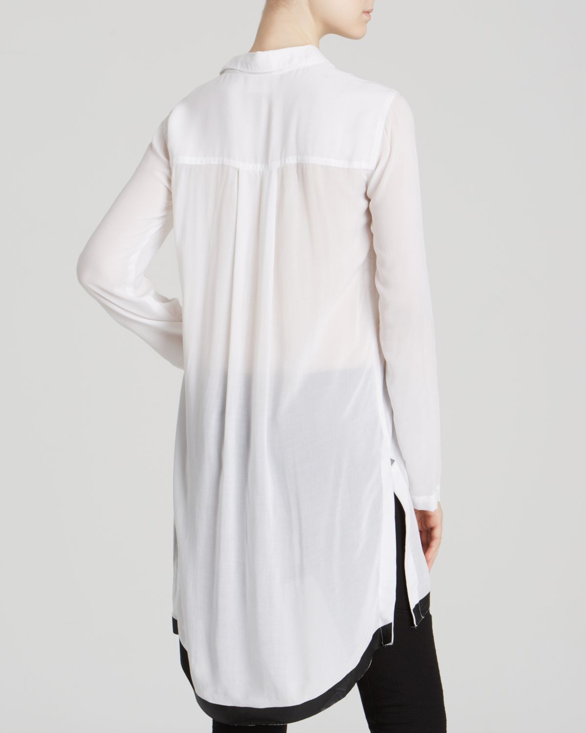 Dkny Long Sleeve Tunic Blouse in White | Lyst