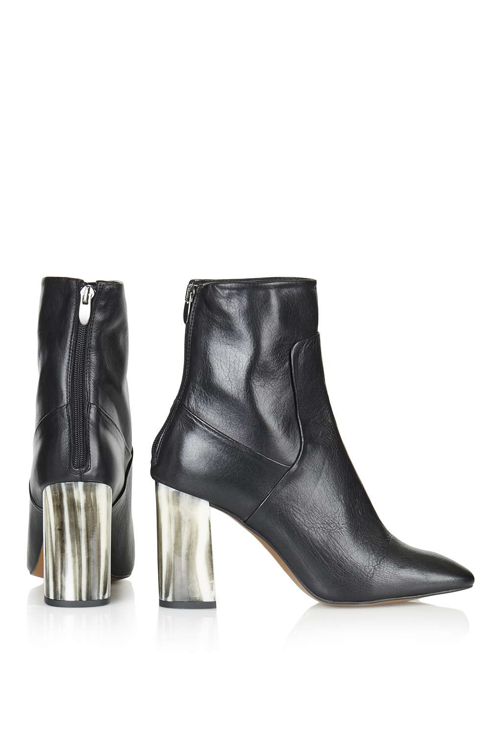 TOPSHOP Leather Muse Bone Heel Boots in Black