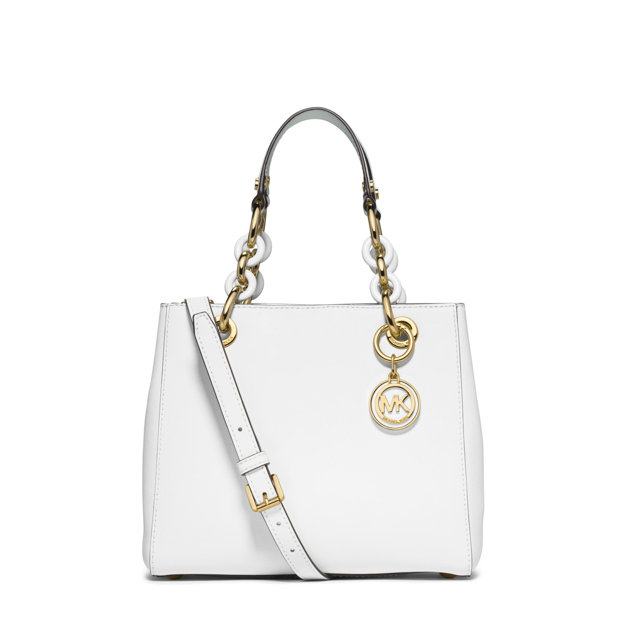 69e9487a34f30c Michael Kors Cynthia Small Leather Satchel in White - Lyst