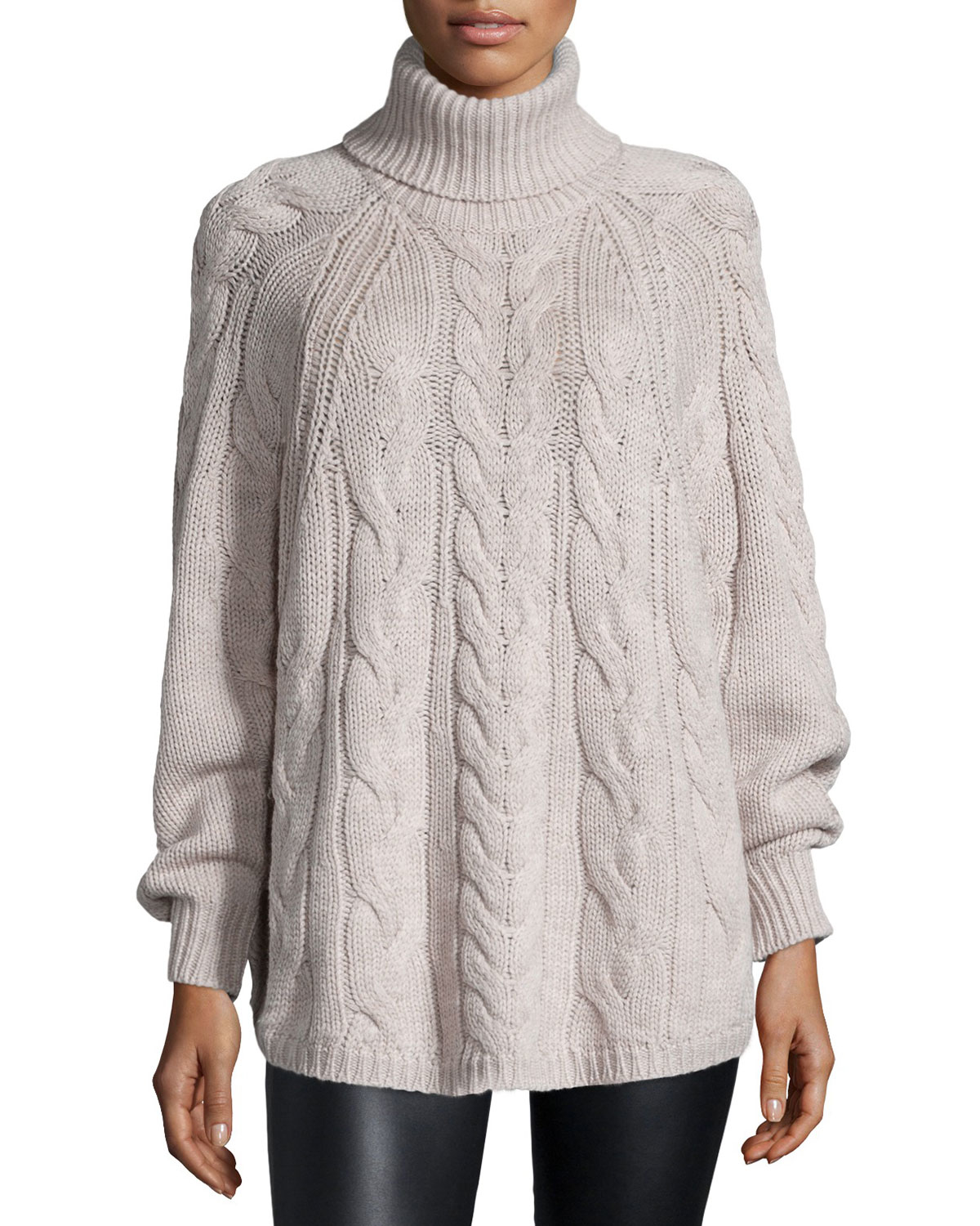 Halston Long-sleeve Cable-knit Sweater in Gray | Lyst