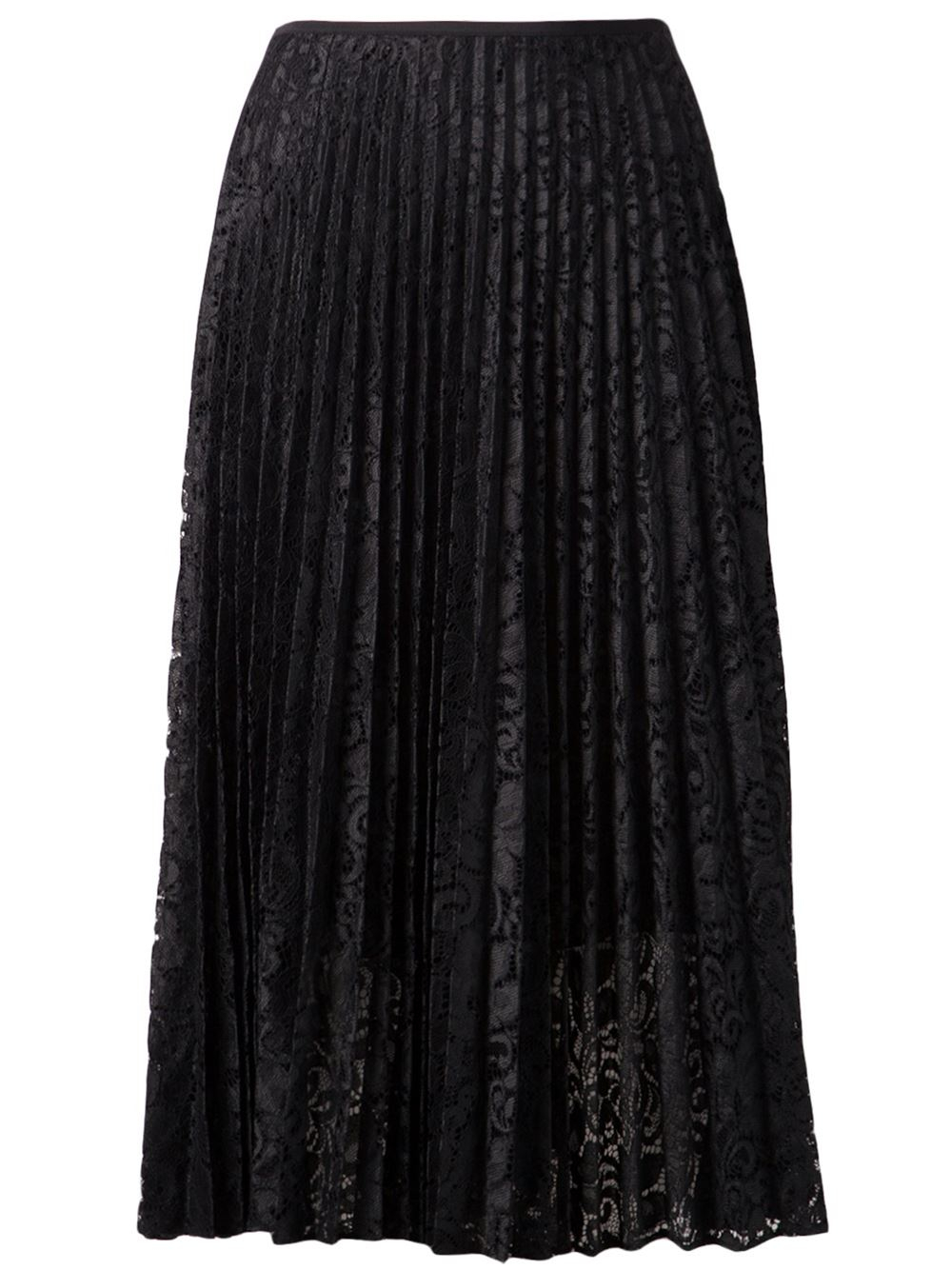 theory pleated midi skirt in black lyst