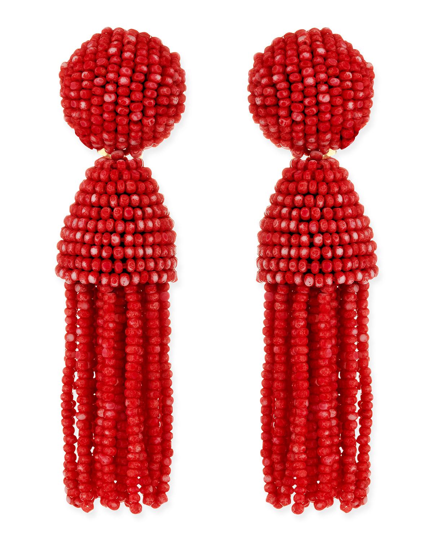 Oscar De La Renta Short Beaded Tassel Clipon Earrings Clementine In