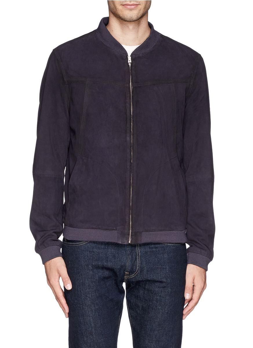 scotch soda suede bomber jacket in purple for men lyst. Black Bedroom Furniture Sets. Home Design Ideas