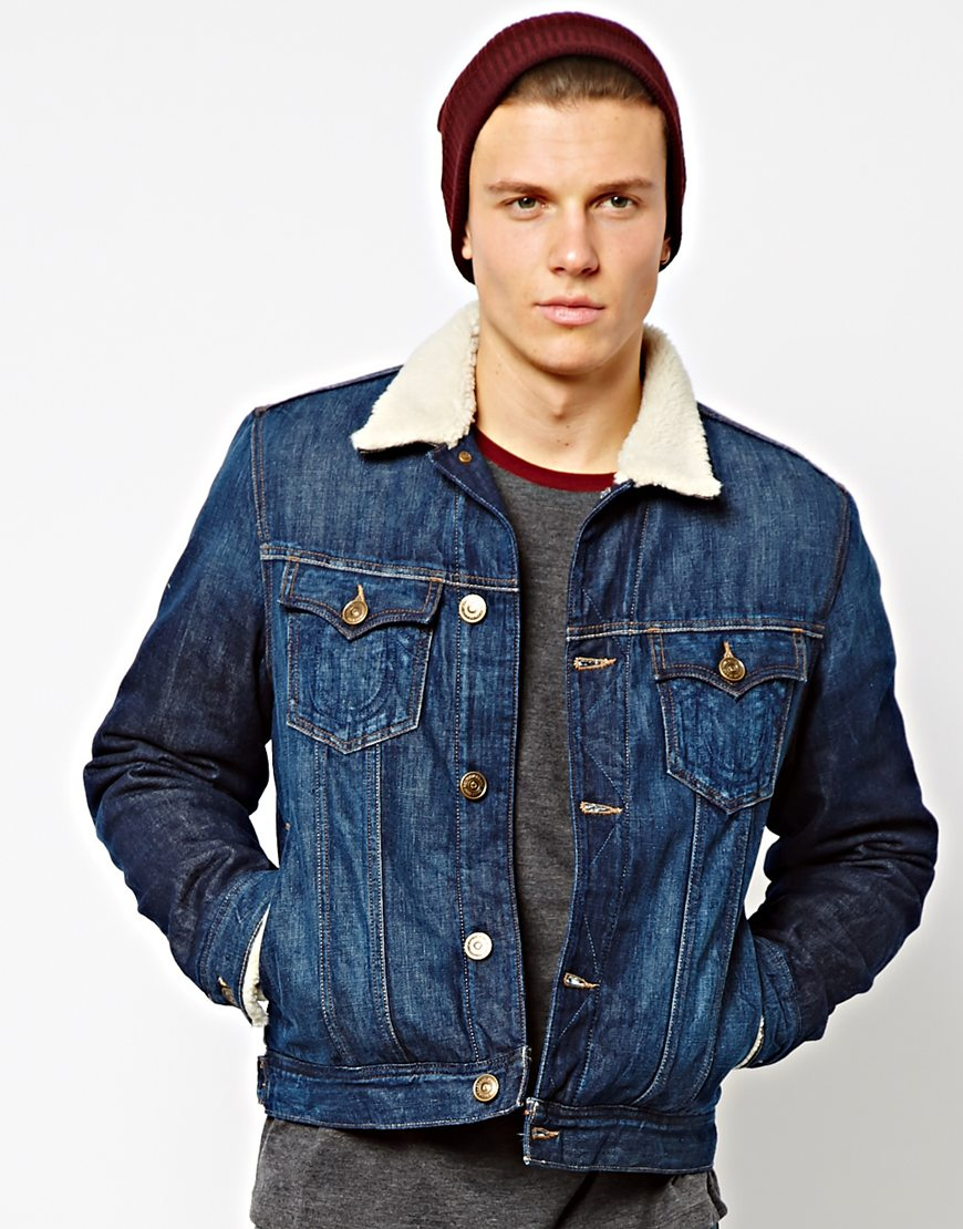 true religion denim jacket sherpa lining and collar in. Black Bedroom Furniture Sets. Home Design Ideas