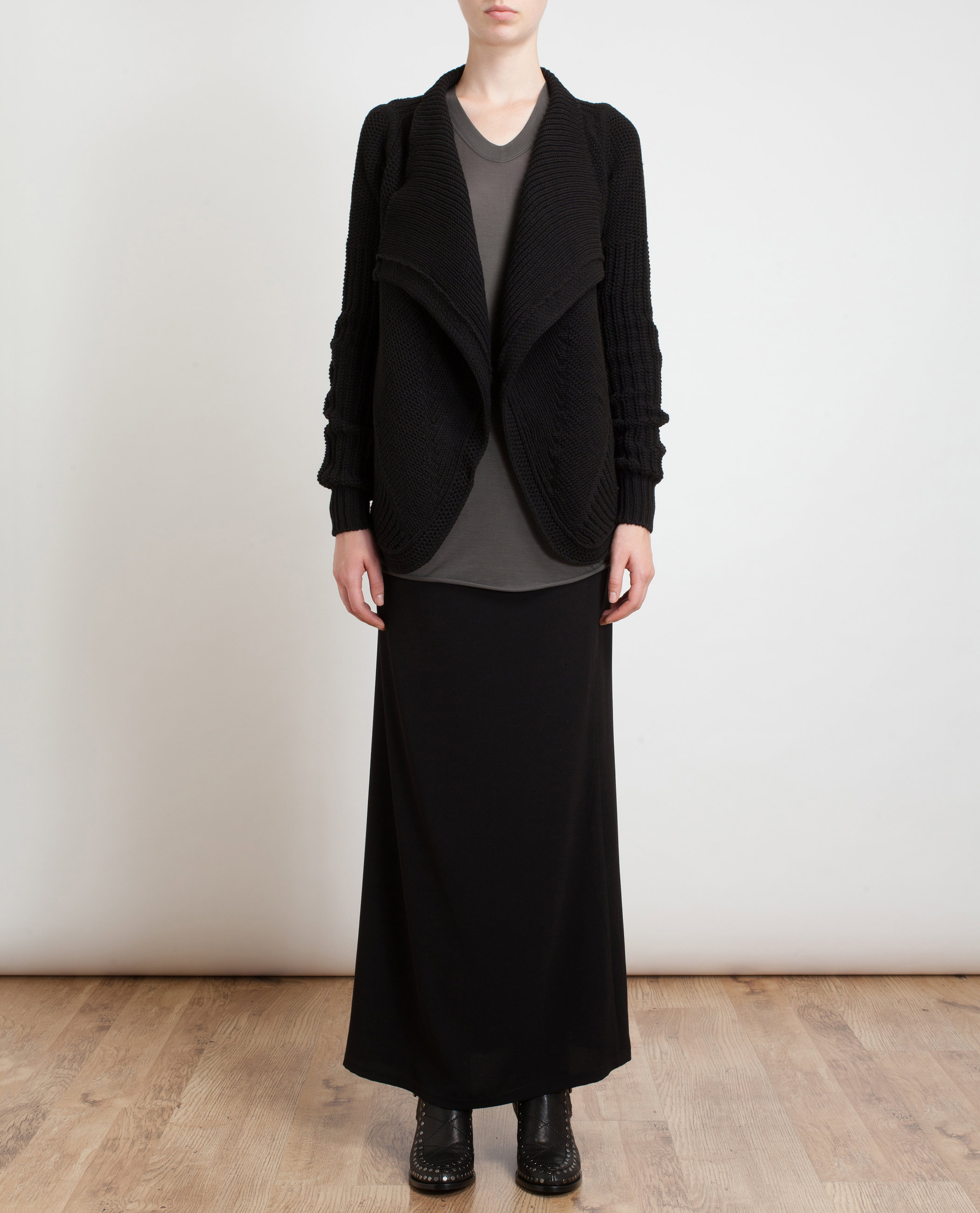 Rick Owens Ribbed Chunky Knit Cardigan in Black - Lyst 76376b791