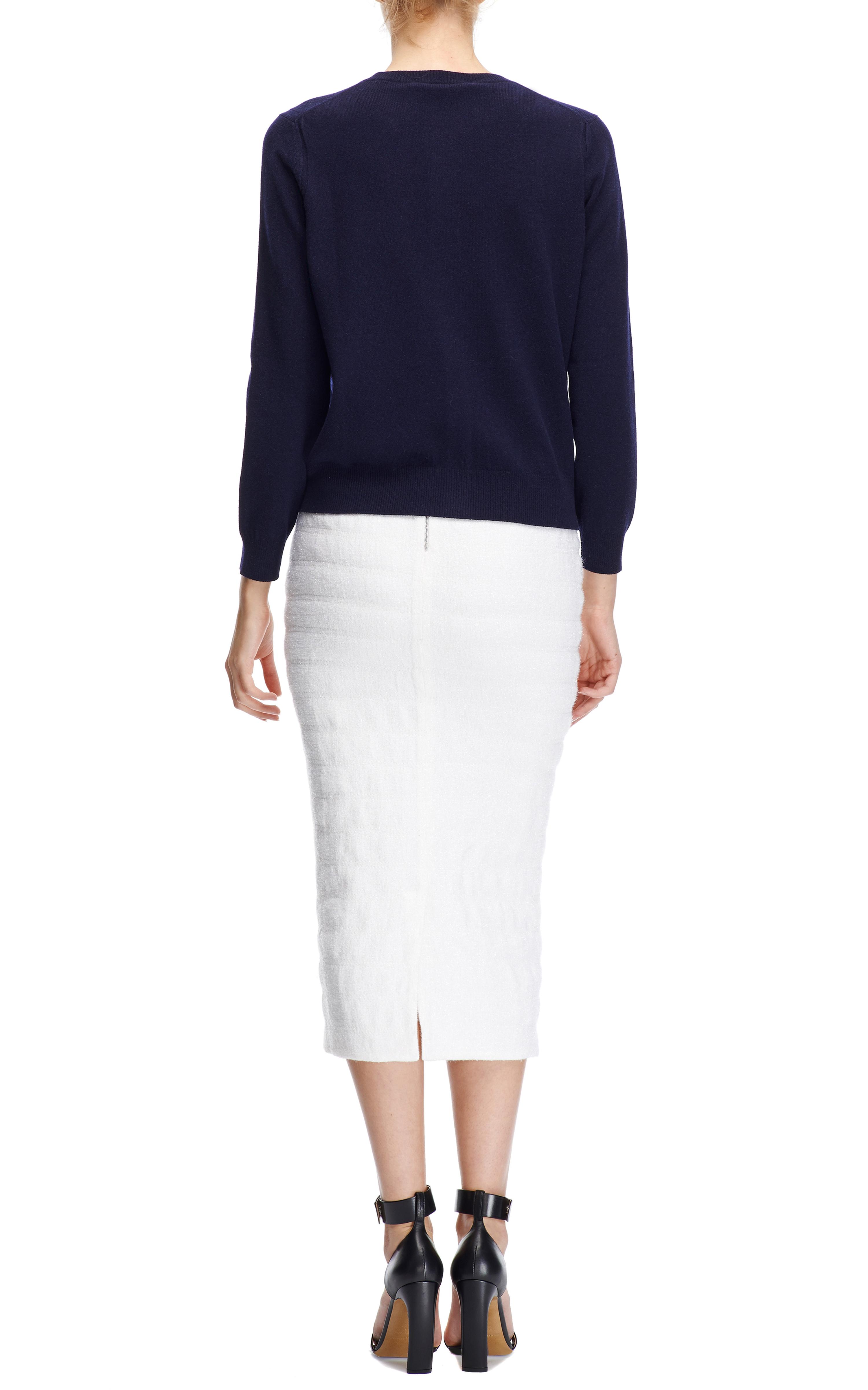 rochas frozen boucl 227 midi pencil skirt in white lyst