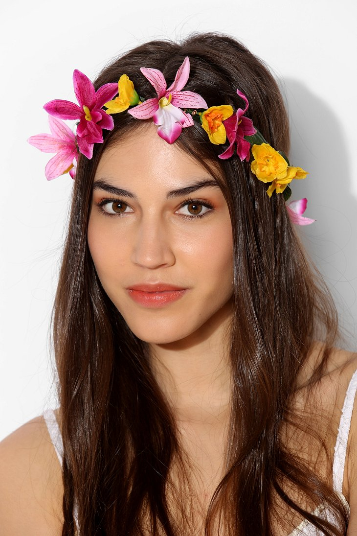 Lyst urban outfitters tropical flower crown headwrap in yellow gallery izmirmasajfo