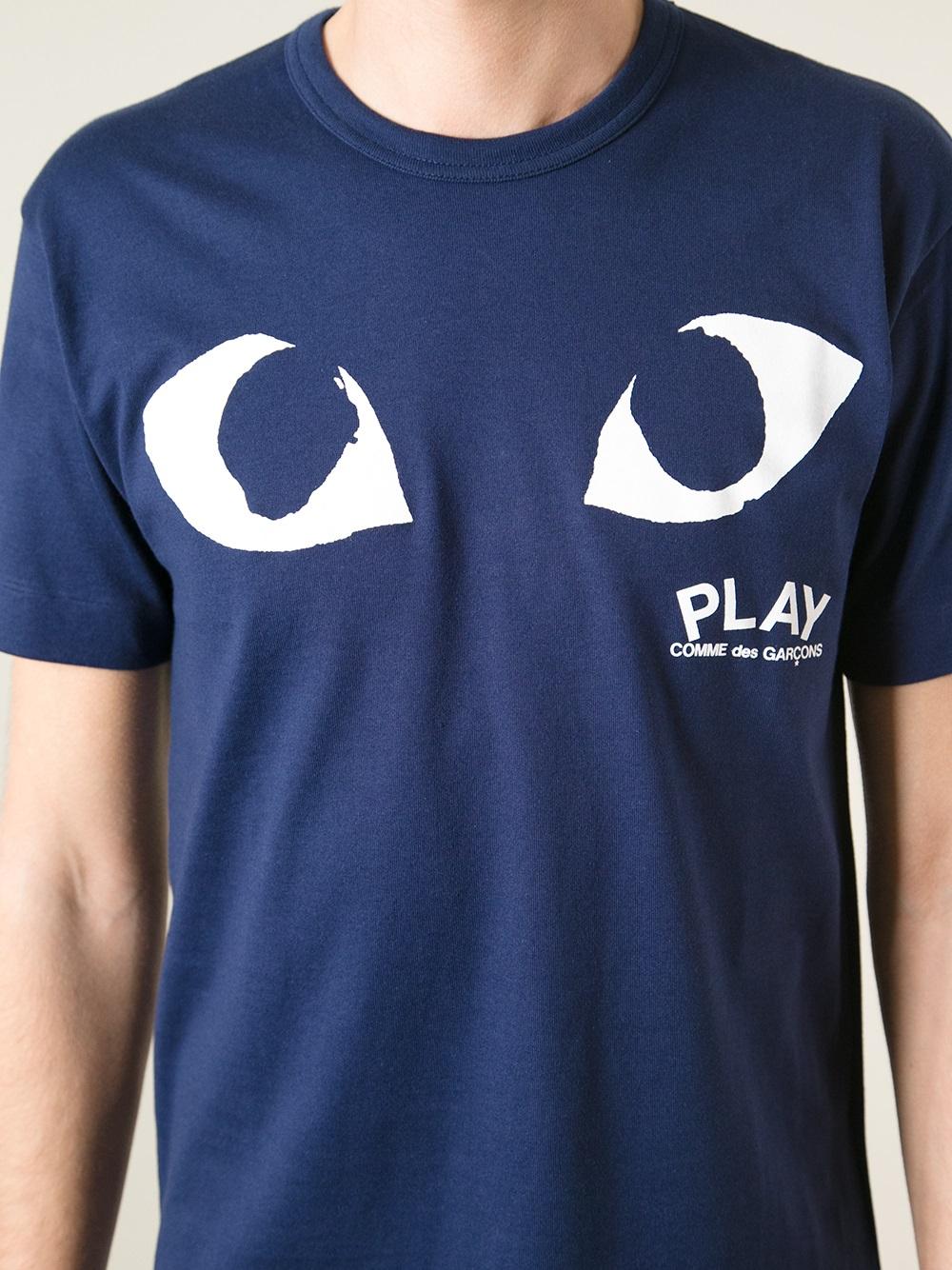 Play Comme Des Gar Ons Logo Print T Shirt In Blue For Men