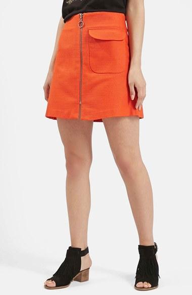 topshop patch pocket a line skirt in orange lyst