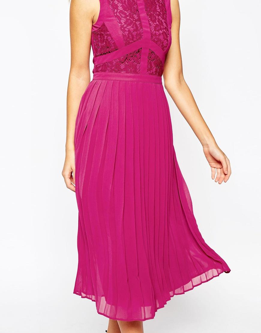 Lyst - Warehouse Lace Pleated Midi Dress in Purple