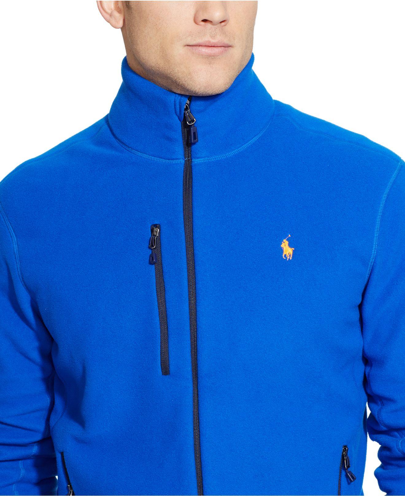 Polo ralph lauren Fleece Mockneck Jacket in Blue for Men | Lyst