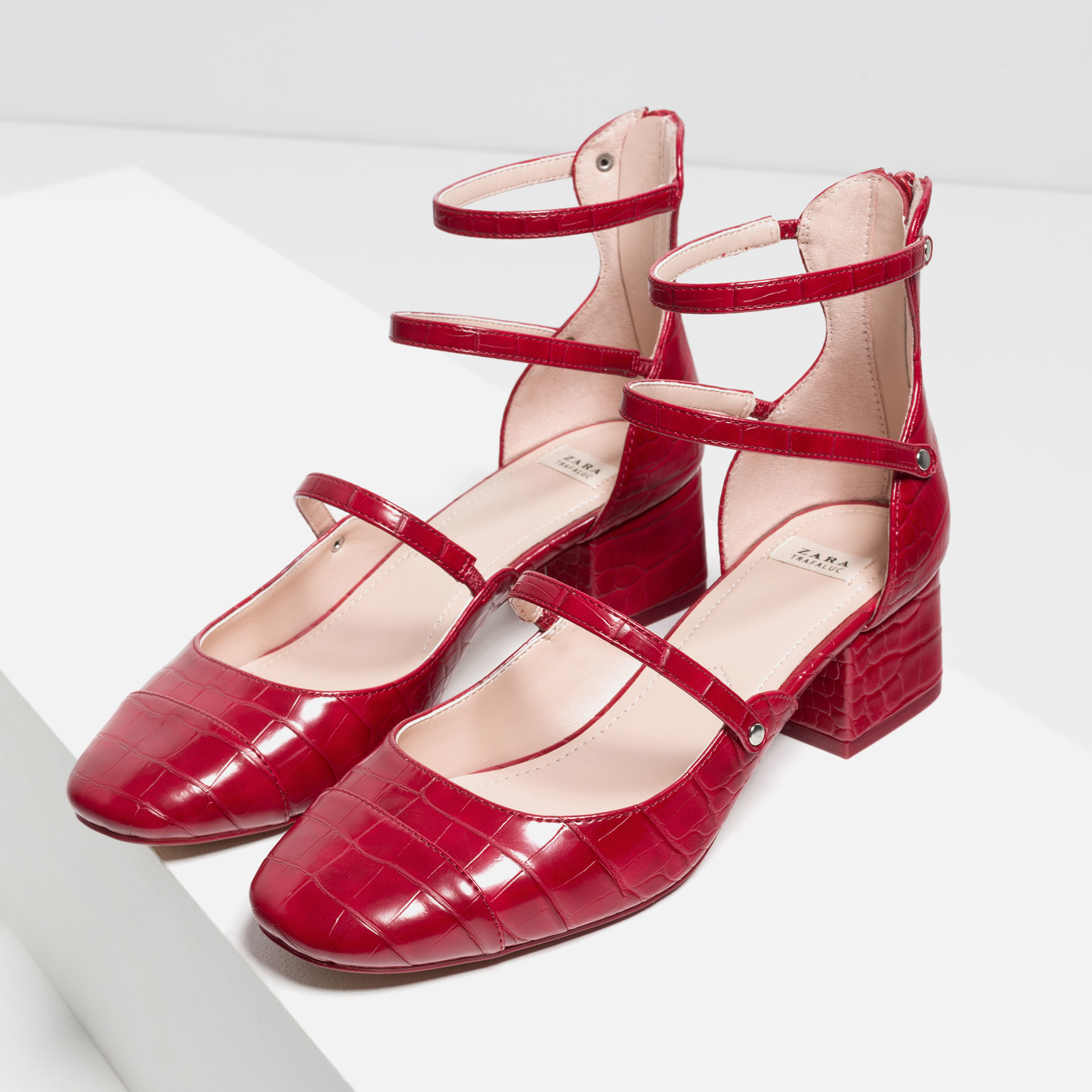 Zara Mid Heel Shoes With Straps in Red | Lyst