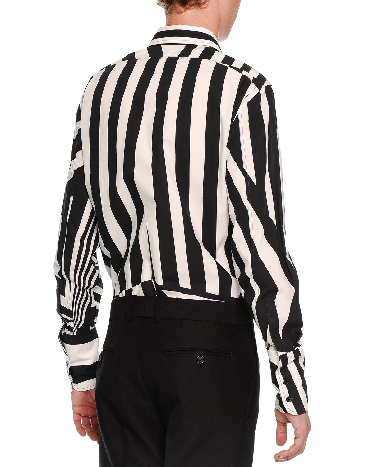 Alexander mcqueen Stripe-patched Button-down Shirt in Black for ...