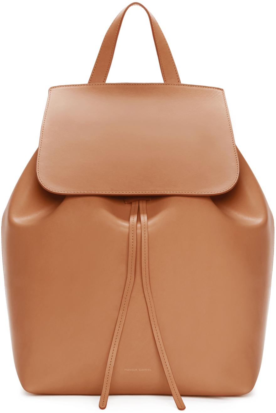 Mansur gavriel Tan Leather Backpack in Brown | Lyst