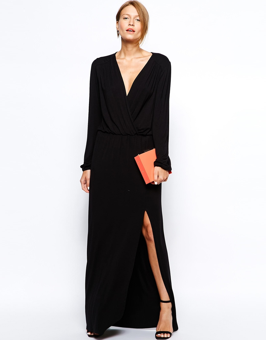 Love Plunge Wrap Front Maxi Dress With Thigh Split In