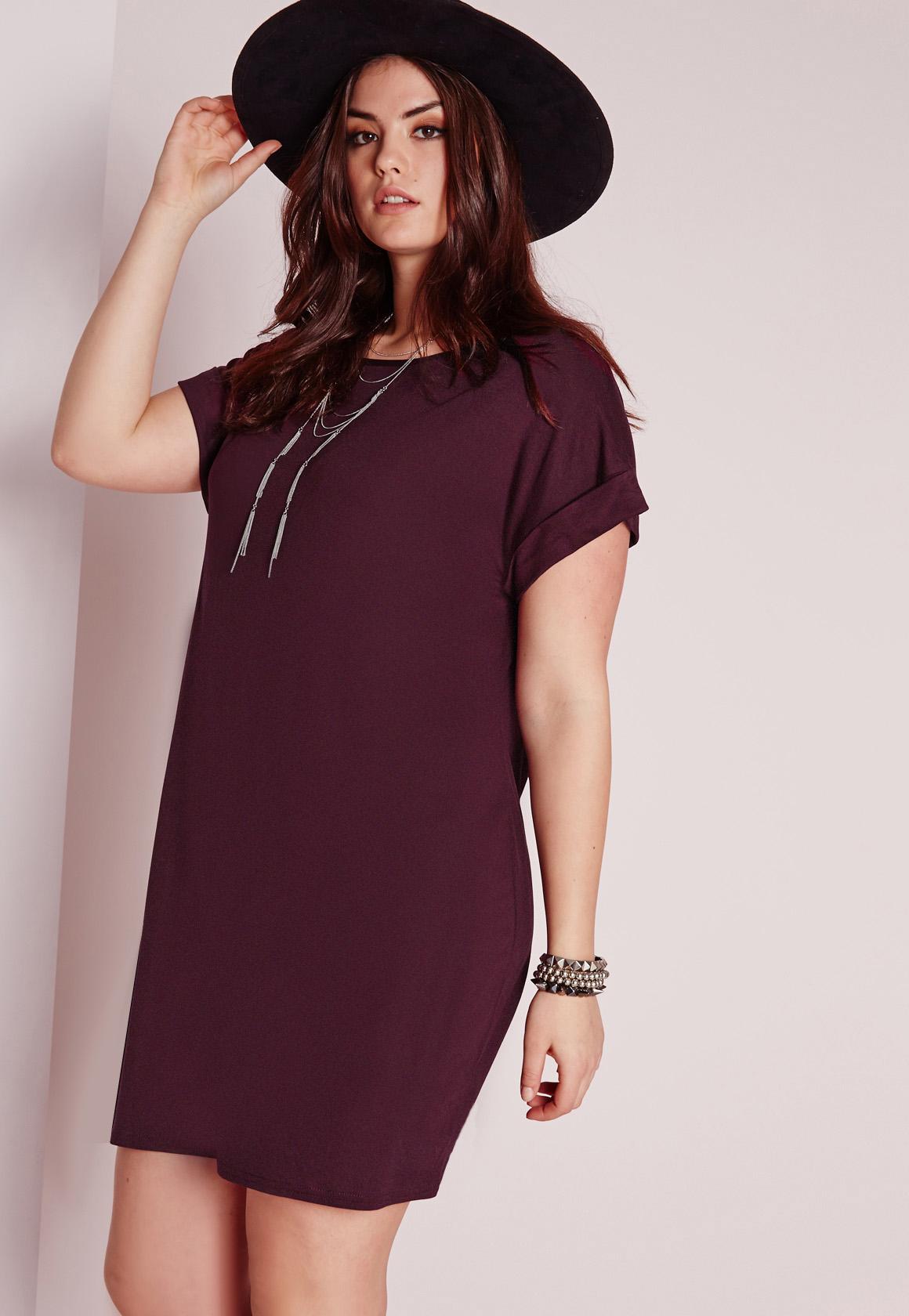 12069db773b2a Lyst - Missguided Plus Size T-shirt Dress Purple in Purple