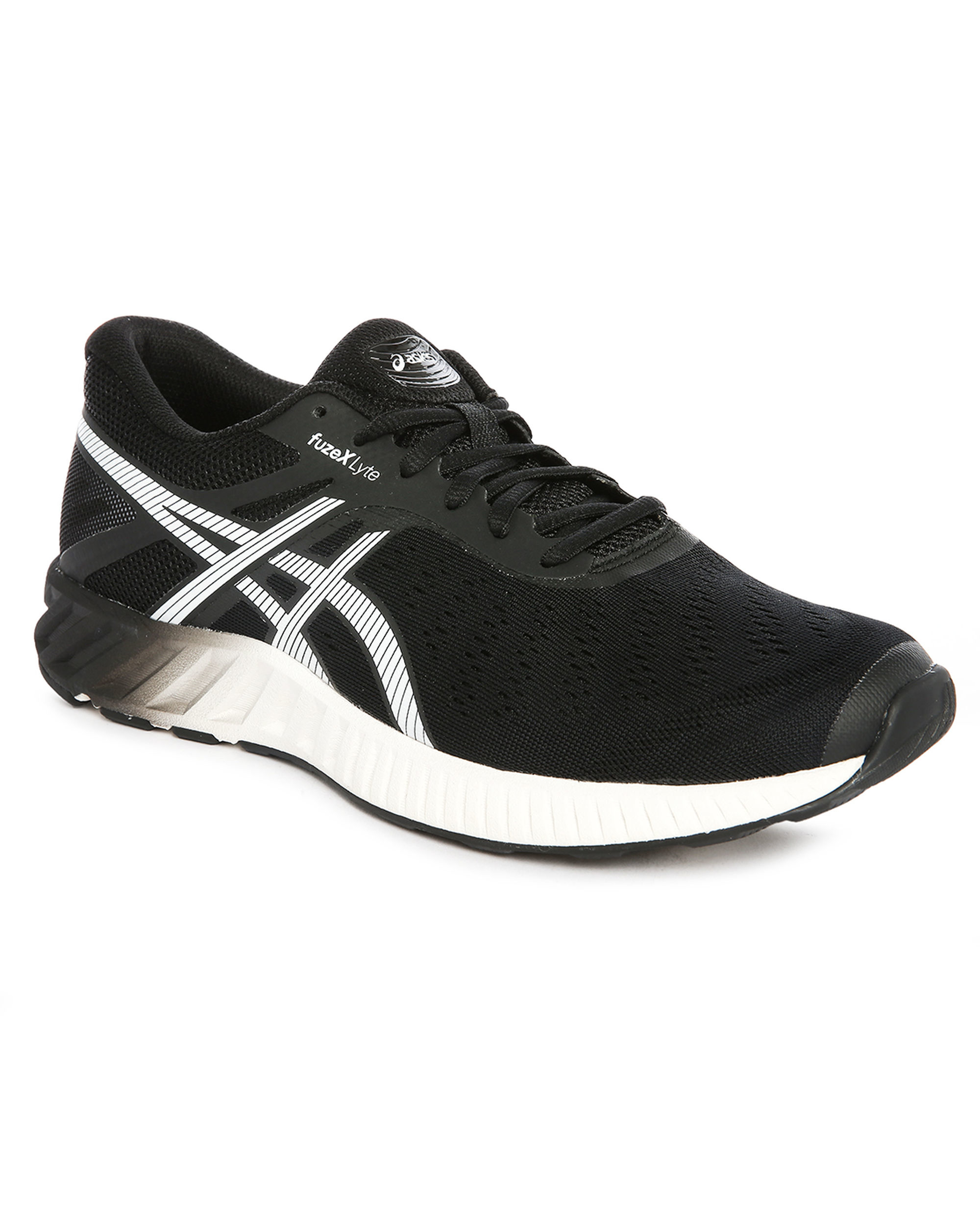 asics black white fuzex lyte running shoes in black for