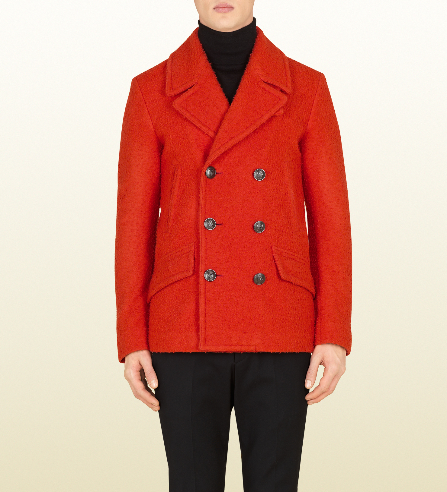 Orange Pea Coat Fashion Women S Coat 2017