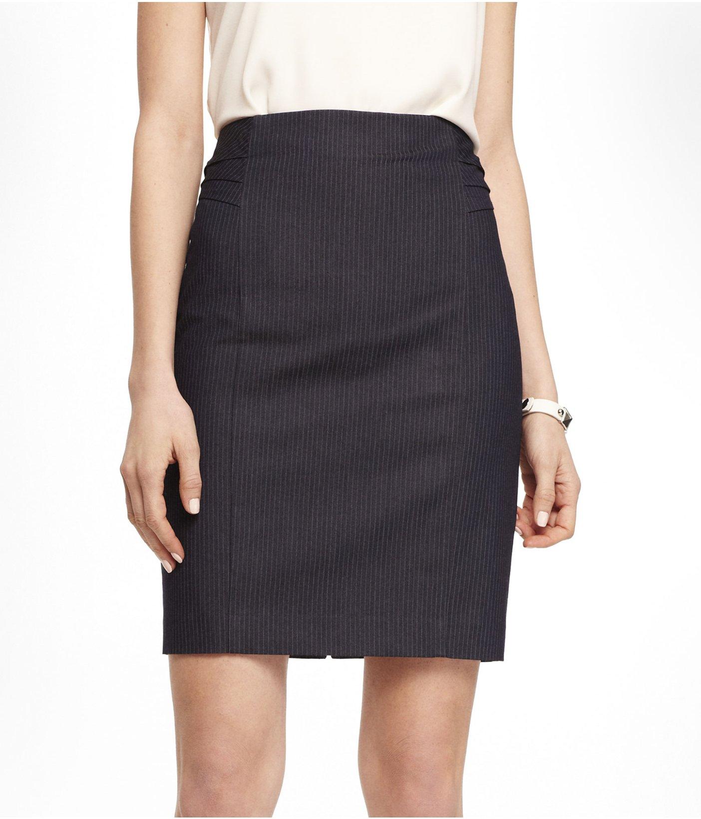 express high waist pinstripe pintucked pencil skirt in