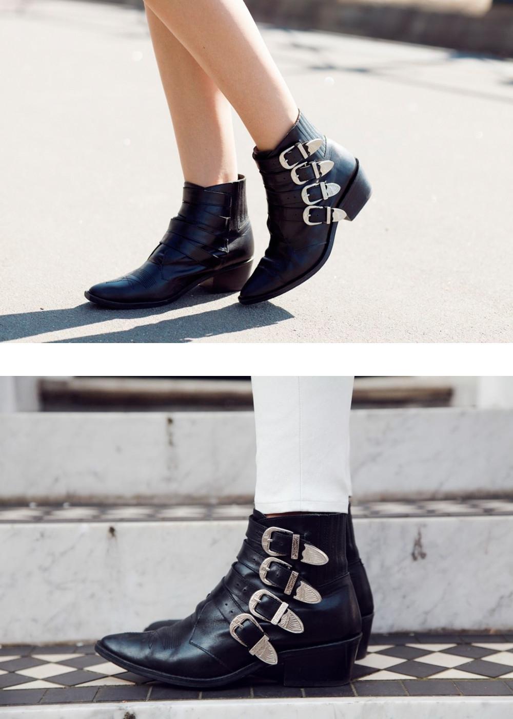 toga pulla restocked black leather western buckle ankle