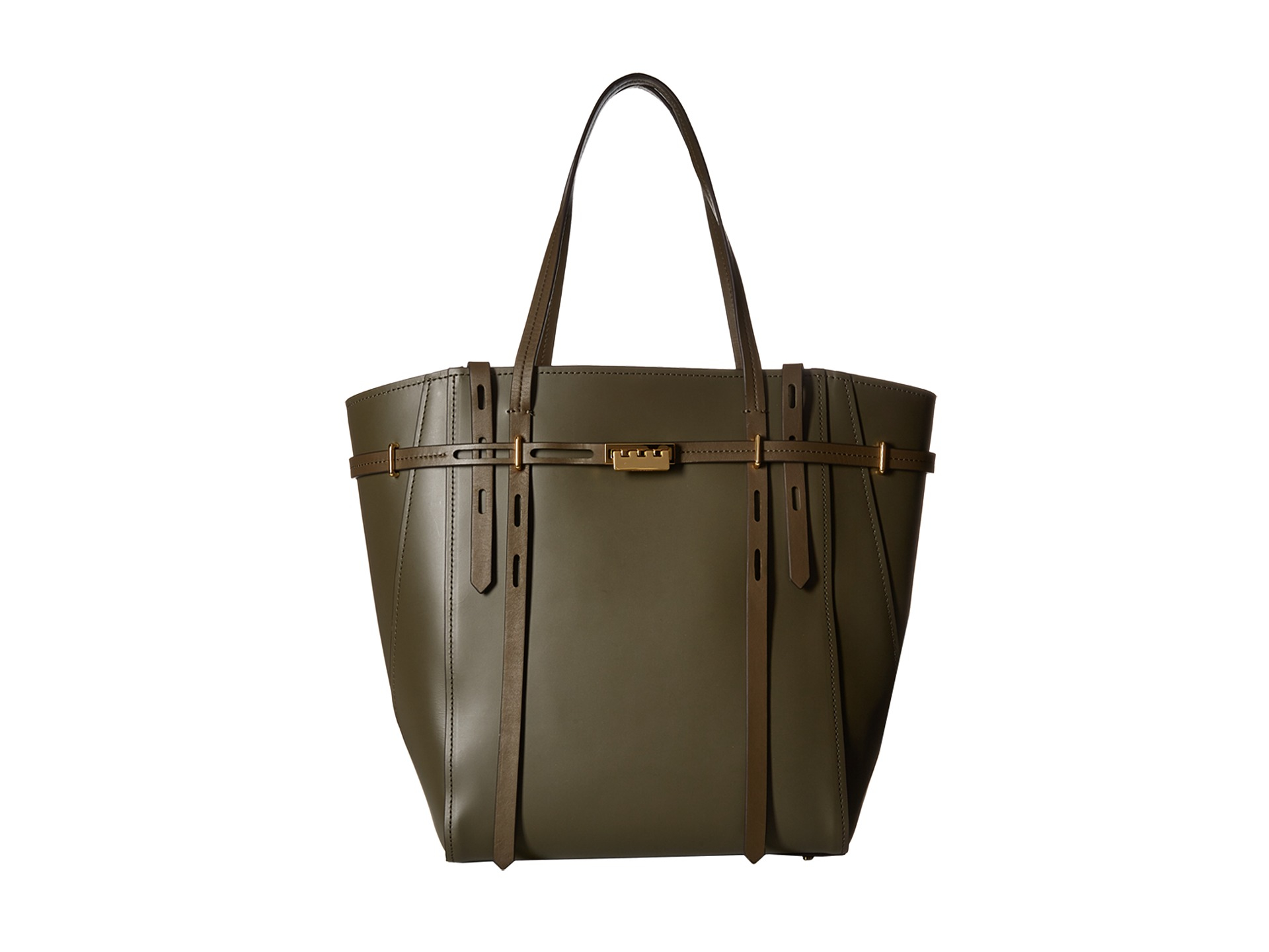 Zac Zac Posen Leather Eartha Belted Shopper In Olive