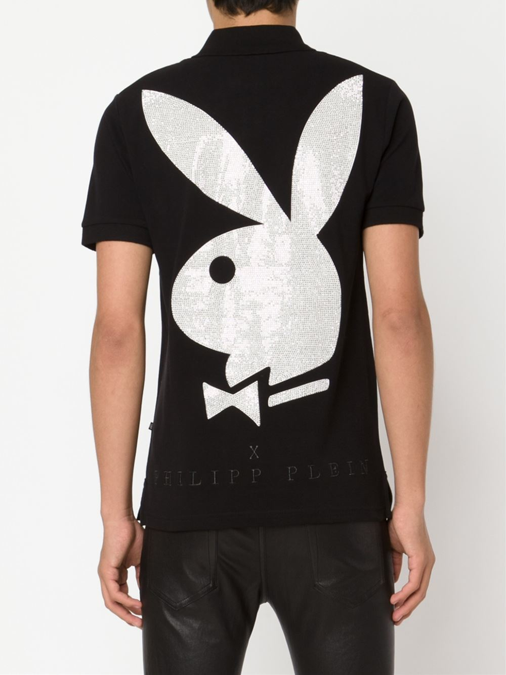 philipp plein playboy bunny polo shirt in black for men lyst. Black Bedroom Furniture Sets. Home Design Ideas