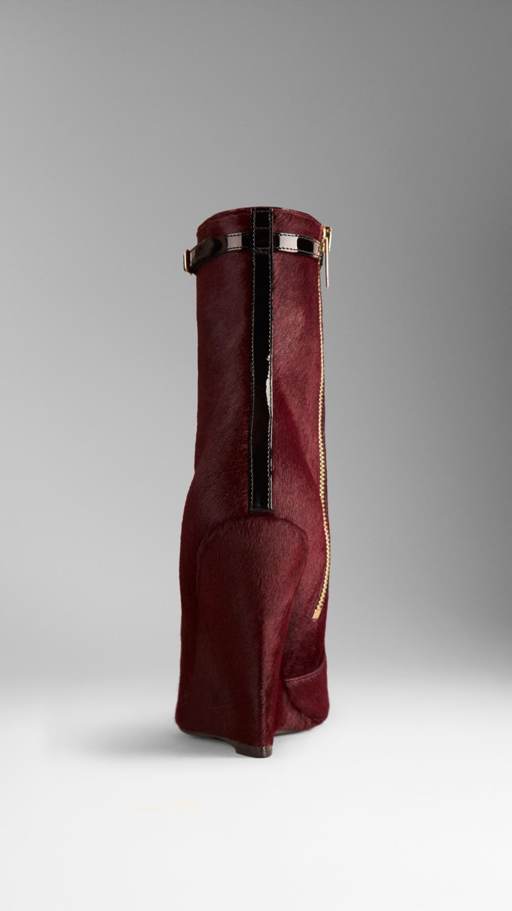 burberry patent calfskin wedge boots in