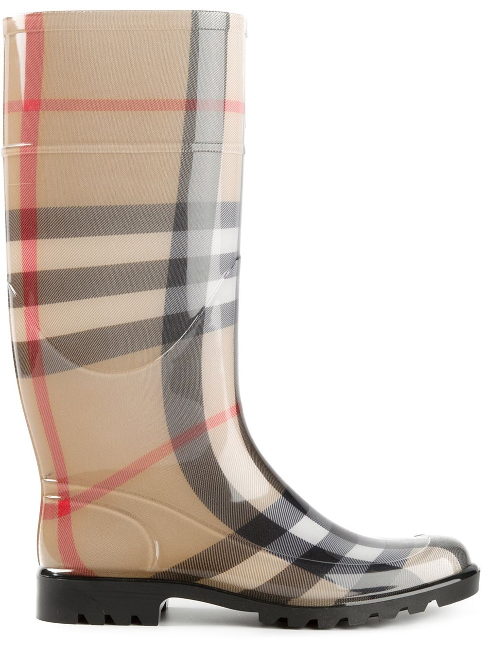 Burberry House Check Rain Boots In Beige Nude -9626