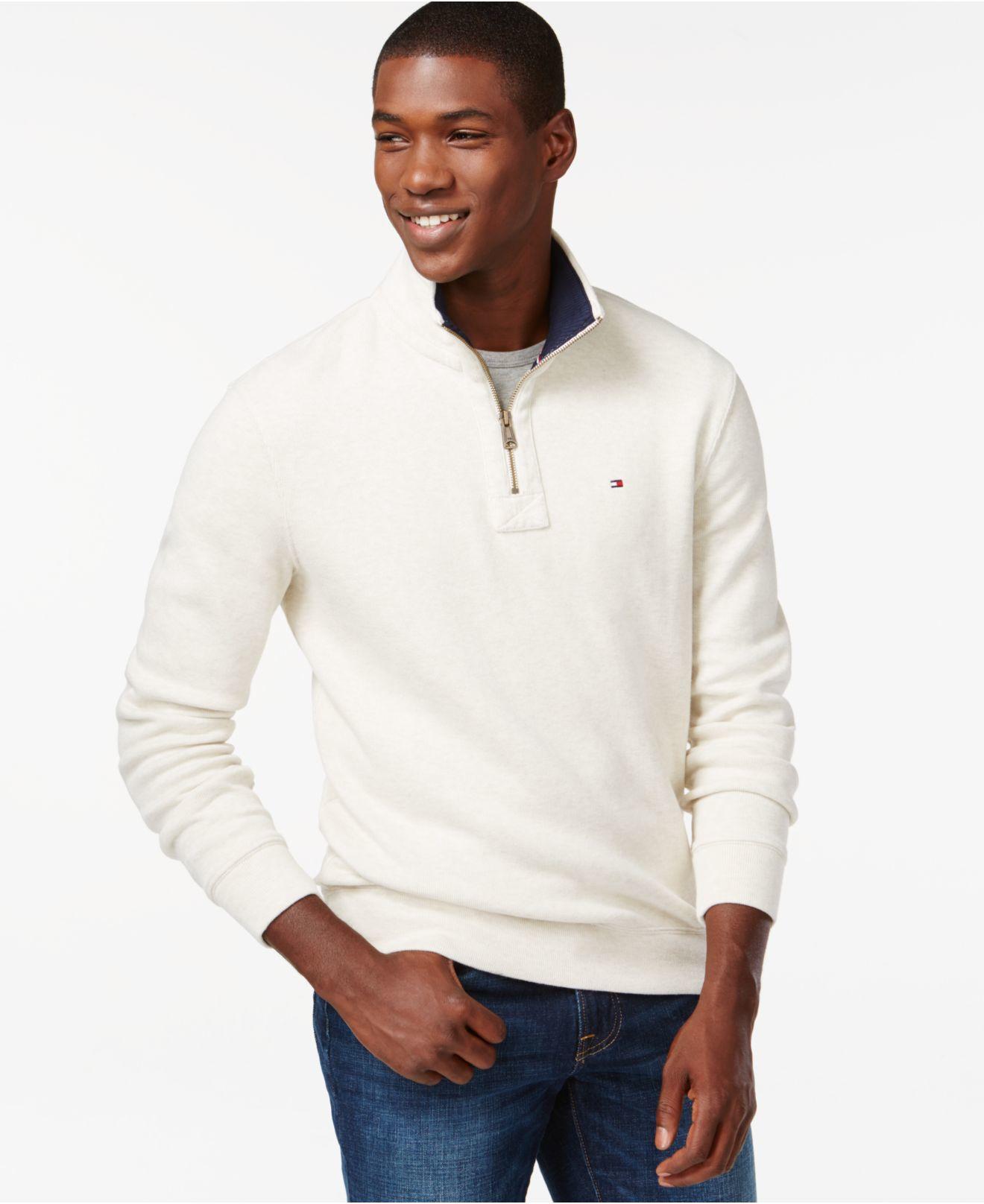 cec0c6ec3534f Lyst - Tommy Hilfiger French Rib Quarter-zip Mock-collar Sweater in ...