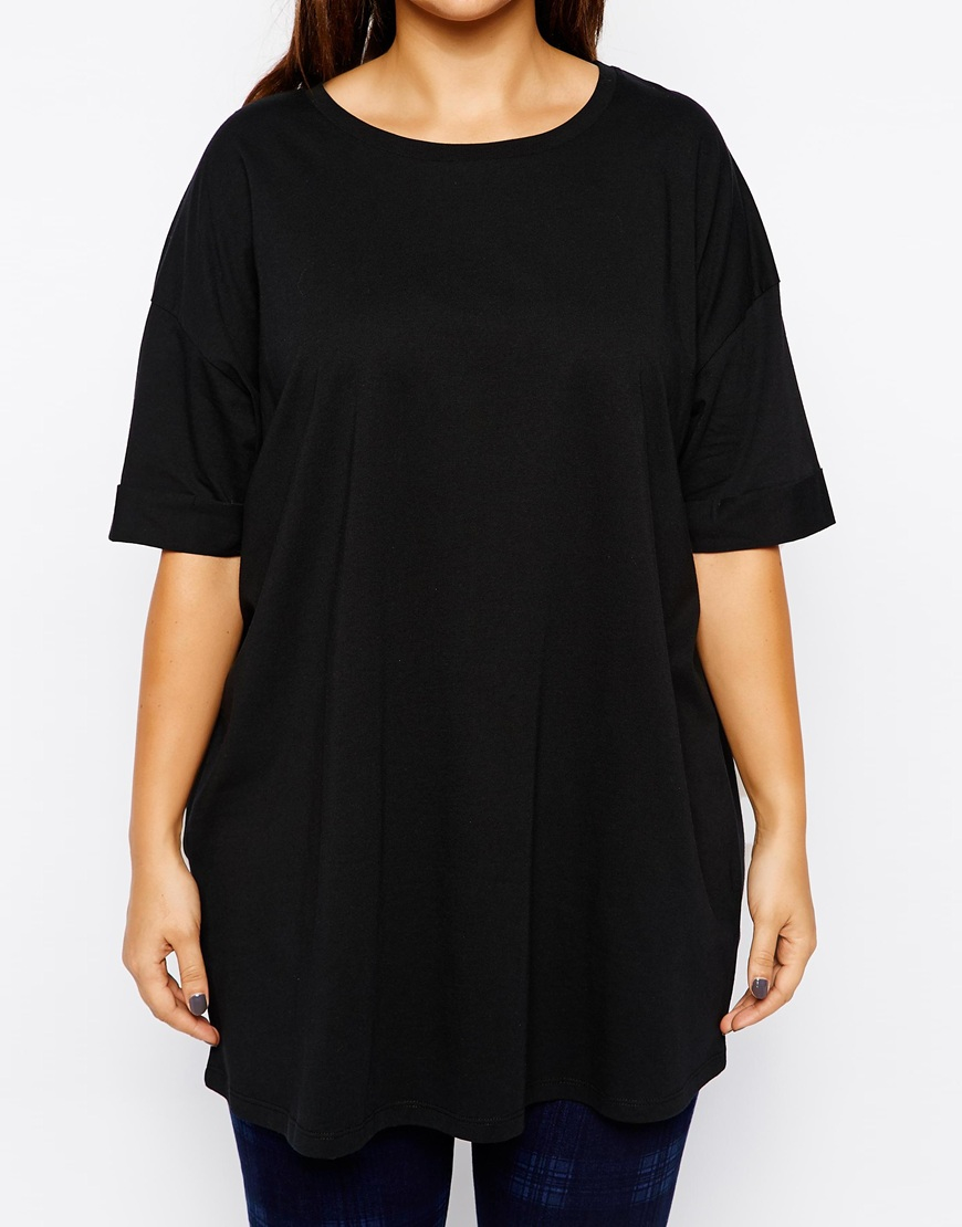 asos oversized tunic t shirt in black lyst. Black Bedroom Furniture Sets. Home Design Ideas