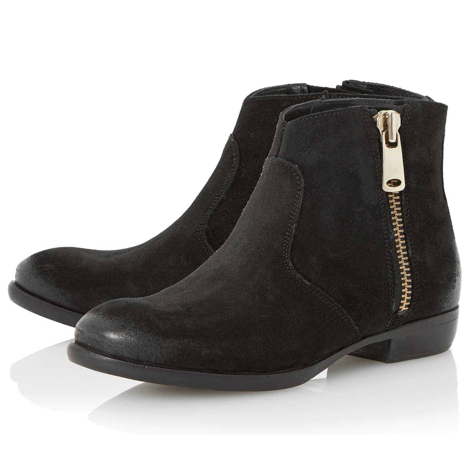 Dune Popple Suede Ankle Boots in Black