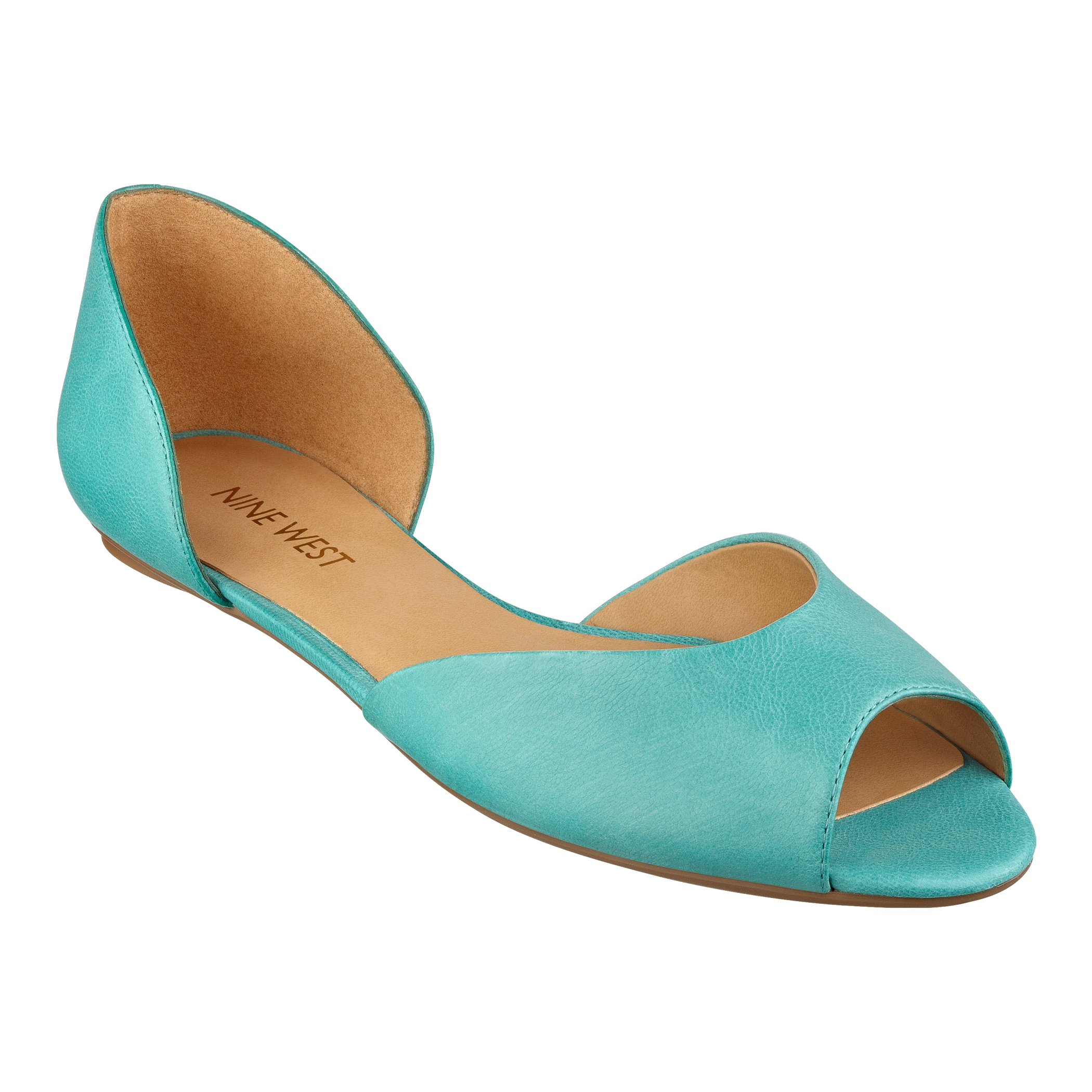 Blue Peep Toe Flats