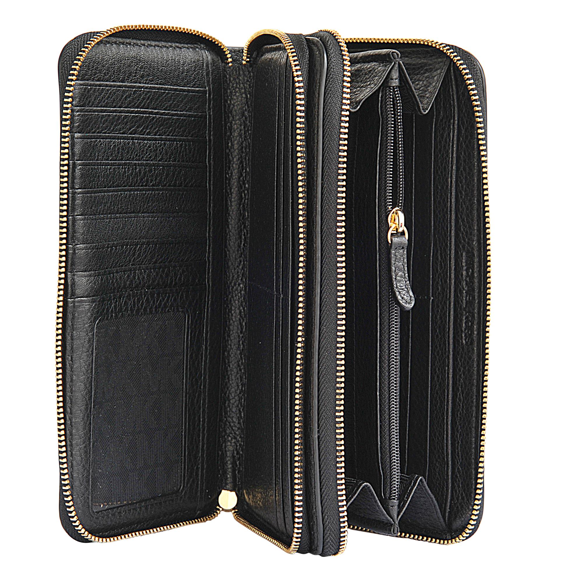 michael michael kors adele double zip wallet in black lyst. Black Bedroom Furniture Sets. Home Design Ideas