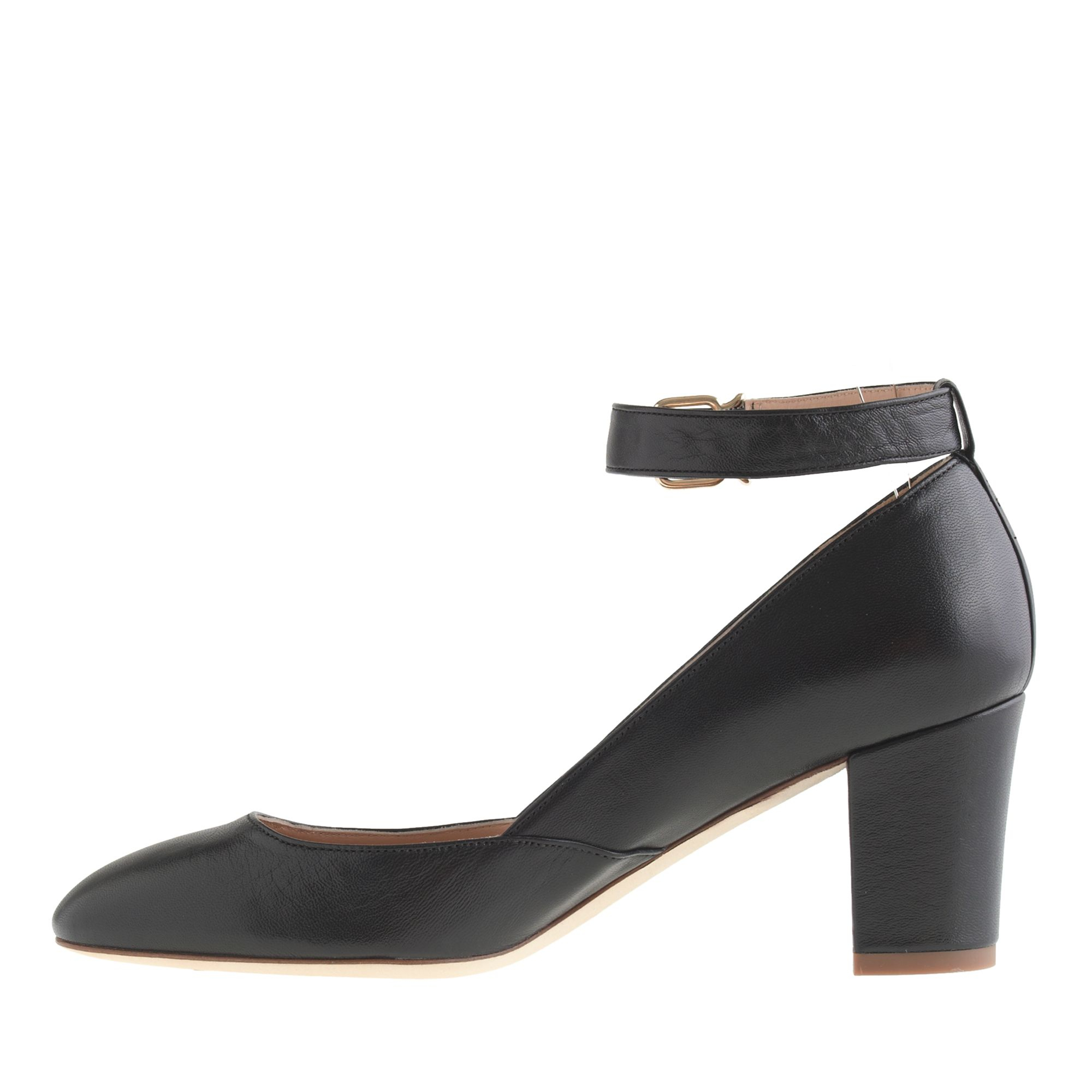 Mid Heel Pumps With Ankle Strap