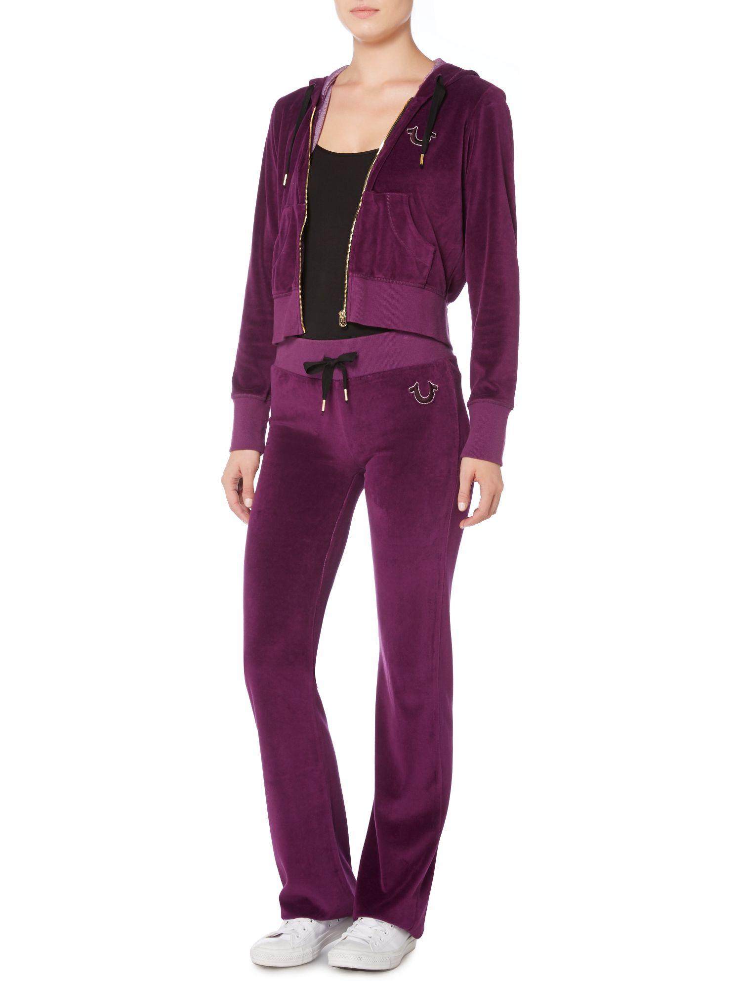 119516cda7c6 True Religion Velour Tracksuit Pants In Purple